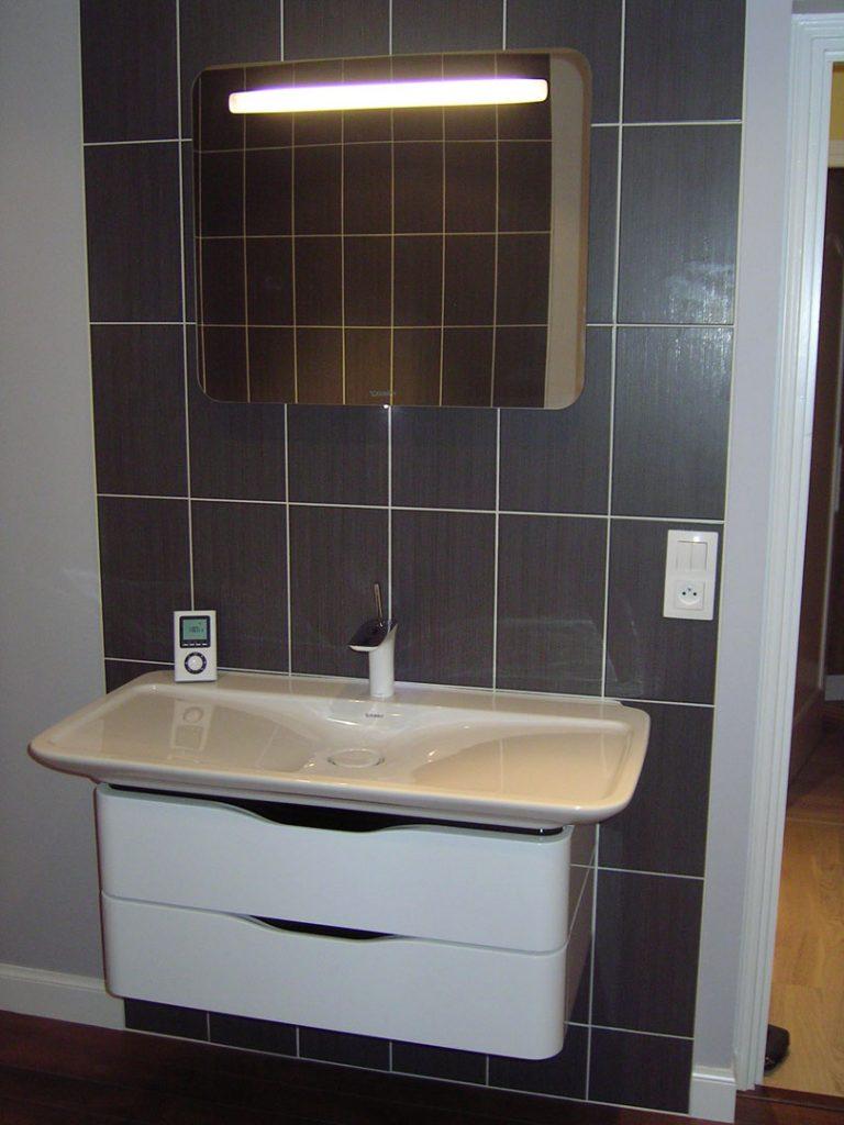 lavabo sur meuble et miroir au mur